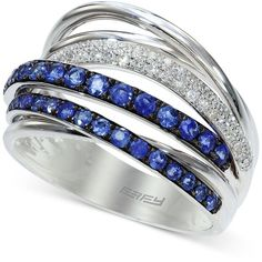 Royale Bleu by Effy Sapphire (3/4 ct. t.w.) and Diamond (1/5 ct. t.w.)... ($1,566) ❤ liked on Polyvore