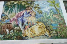 """Cross Stitch title: The Lovers 10 cts; white Aida cloth sequins and beads added 24 1/2"""" x 34 1/2""""  #CrossStitch #Craft #forsale"""