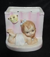 vintage baby wall pocket planter orimco bradley world creations 1961