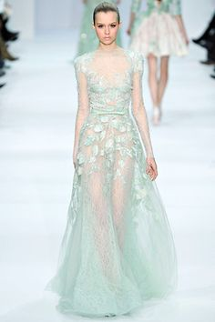 Elie Saab Spring 2012 Couture, mint green gown, runway