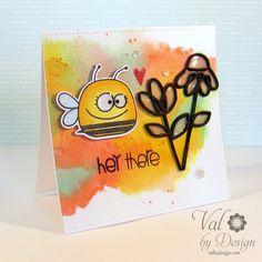 Card by PS GDT Valerie Ward using PS Bee Mine stamps/dies, Dainty Flowers dies, Sentiment Sampler
