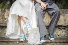 But maybe a little bit different shade of blue, but I love that the color of her shoes are the color of his laces. Ties it together nicely :) Chucks Wedding, Wedding Sneakers, Wedding Shoes, Rustic Wedding, Our Wedding, Dream Wedding, Converse, Here Comes The Bride, Wedding Pictures
