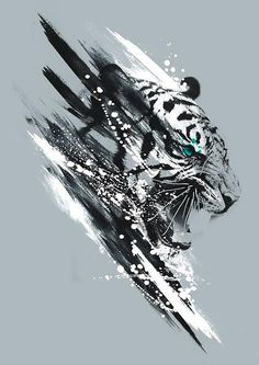 Awesome White Tiger Tattoo Design