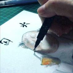 不喝水只喝飲料 身上永遠都會臭 宛如臭水溝  #多喝水#圖文#設計師的囉嗦圖文#手繪#插畫#阿伯很臭#painting #drawing #art#design #illustration #illustrator
