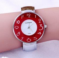 2016 Brand CanSnow Big Dial Cute Number Display Women dress Bracelet watches Ladies Casual watch Fashion Quartz wristwatches