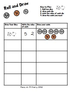 Kids can practice counting coins and representing different amounts with this fun activity. Suitable for both American and Canadian educators Math 2, 1st Grade Math, Grade 1, Teaching Money, Help Teaching, Money Activities, Counting Coins, First Grade Worksheets, Coin Values