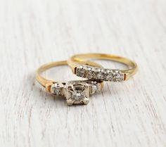 Vintage 14K Yellow & White Gold .25 CTW Diamond by MaejeanVINTAGE, $575.00
