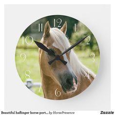 Beautiful haflinger horse portrait round clock Haflinger Horse, Horse Portrait, Wall Clocks, Diy Face Mask, Hand Coloring, Dog Design, Funny Cute, Camouflage, Dog Cat
