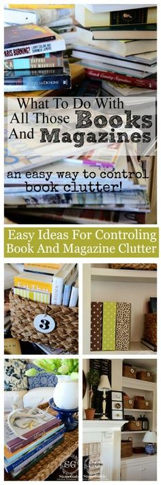 EASY AND CREATIVE WAYS TO CONTROL BOOK AND MAGAZINE CLUTTER- great ideas #cluttercontrol