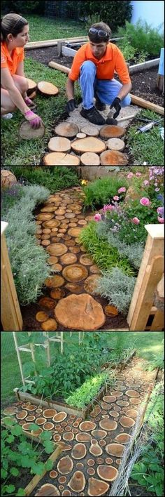 Use old tools instead of new furniture when you are decorating your garden so you can both make a profit and catch a creative image. Here's 21 DIY Garden Design Ideas. Diy Garden, Dream Garden, Garden Paths, Garden Art, Home And Garden, Garden Crafts, Garden Edging, Glass Garden, Herb Garden