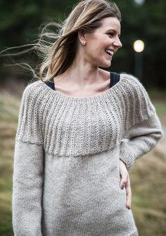 3d31942f Opskrift 1626: Damesweater med rundt bærestykke i Mayflower Easy Care  Claccis og Mayflower Kid Silk