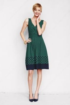 Women's Sleeveless Cotton Modal Pattern Fit and Flare Dress from Lands' End (Black and White Polka Dot)