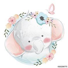 Cute Cartoon Elephant And Balloons Illustration Illustration Mignonne, Cute Illustration, Baby Animal Drawings, Cute Drawings, Bebe Vector, Baby Animals, Cute Animals, Art Mignon, Cute Baby Elephant