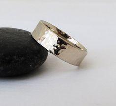 Mens Wedding Band White Gold Wedding Ring Unique by GoldSmack