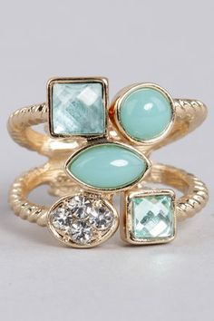 Love the mint colors and unique shape of this ring  Better Shape Up Mint Rhinestone Ring at LuLus.com!