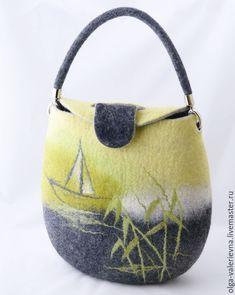 Купить Cумка Жёлтая река. - лимонный, желто-зеленый, тростник, лодка, сумка ручной работы