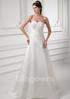 Appliques Taffeta Sleeveless A-line Sweetheart Lace Up Sweep White Wedding Dresses