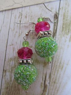 Hot Pink EarringsGreen Earrings Lime Green by BrownBeaverBeadery, $10.00
