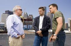 Martin Scorsese, Leonardo DiCaprio and Matt Damon on set of The Departed