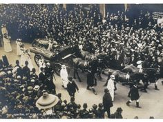 Funeral of Suffragette Emily Davison.  I often wonder what these brave intelligent women would think of the Playboy culture of today... :(