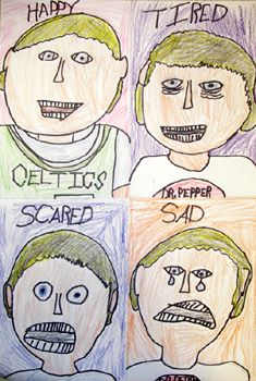 """Students created several """"self portraits"""" each with a different facial expression. They used mirrors to look for subtle changes in their facial features as they modeled different expressions and feelings."""
