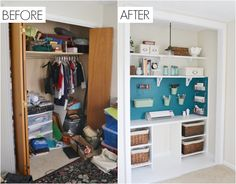 CLOSET ORGANIZATION This formerly untidy space is completely unrecognizable now.