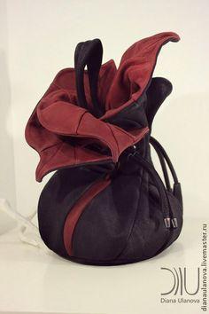 Торба Орхидея - бирюзовый,бордовый,орхидея,авторская работа,дизайнерские украшения