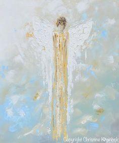 GICLEE PRINT Abstract Angel Painting Gold White Guardian Angel Canvas Blue Green Modern Home Wall Art - Christine Krainock Art - Contemporary Art by Christine - 3