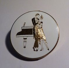 Rare vintage Stratton compact compact mirrors GILT FLAPPER COMPACT unusual gifts for her
