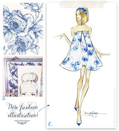 Inspired by Blue & White on Fabulous Doodles. Illustrations by Brooke Hagel