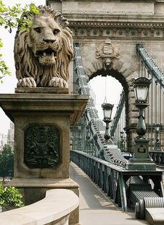 One of the lions on the Széchenyi Chain Bridge, Budapest, Hungary Bratislava, Prague, Places To Travel, Places To See, Travel Around The World, Around The Worlds, Bósnia E Herzegovina, Wachau Valley, Capital Of Hungary
