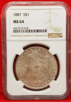 1887 Morgan Silver Dollar NGC Graded MS64 Slabbed Authentic Unites States Coin