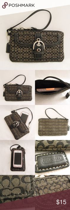 "Coach Wristlet Wallet Authentic COACH Black Signature Wristlet Wallet. Will fit an iPhone5 cellphone. Has scuffs/wear on the fabric from normal use. Please see the last photo for the close-up flaws. Dimensions: 4.25""H x 7.5""W ⚜❌SWAP❌TRADE ⚜✔️❤️Bundles📦 ⚜✔️Clean/Smoke-free/pet-free home Coach Bags Clutches & Wristlets"