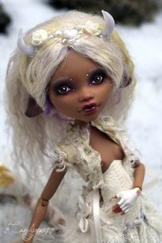 """Little Snow Deer by Candygears on Flickr    """"My fully customized Little Deer. She used to be a Monster High Clawdeen Wolf.."""" -Candygears"""