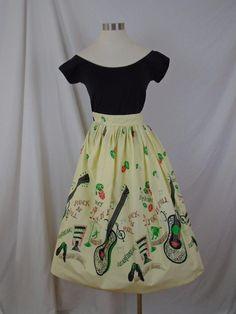 VTG 1950s Elvis Print Skirt Novelty Print Rock N Roll RARE Collectable XXS XS #Handmade