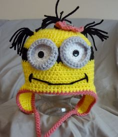 Girl Minion Hat crochet hat by NuttyNoggins on Etsy