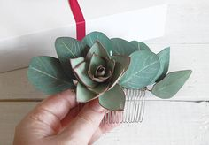 Eucalyptus leaves Wedding hair comb Bridal green leaf hair