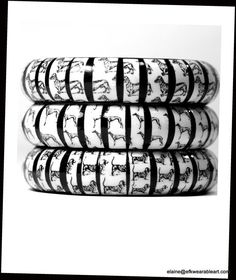 The Hound Group Bangles by EFKwearableart.............. for women who love Black & White Fashion, Handcrafted  Jewelry and Dogs of Course.....