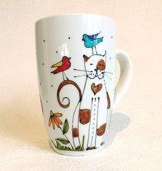 Tasse café Chat, Chat d'amour, Cat mug, peint à la main de la boutique IsamaloArtiste sur Etsy