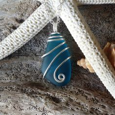 Wire wrapped teal blue sea glass necklace,Sterling silver chain.Beach  jewelry. #Handmade #Pendant