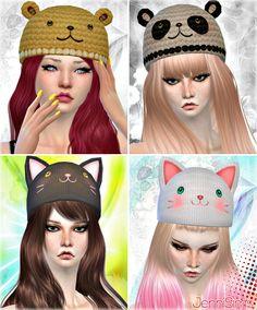 Bear, panda, kitty, frog hats at jenni sims. The Sims 4 Pc, Sims Four, Mini Pizzas, Sims 4 Cc Skin, Sims Cc, Disney Family, Maxis, Sims 4 Cc Kids Clothing, Cc Hats