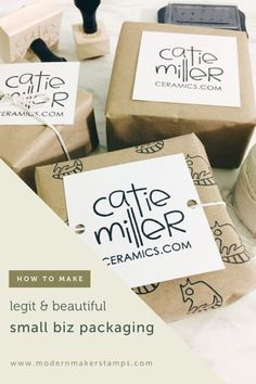 Pretty Custom Product Packaging Idea - Catie Miller Ceramics - Stamped Kraft Packaging - Easy Affordable Legt + Beautiful Custom Packaging for your Creative Small Business Kraft Packaging, Custom Packaging, Packaging Ideas, Creative Gift Wrapping, Creative Gifts, Customized Gifts, Custom Gifts, Birthday Gift Wrapping, Product Packaging