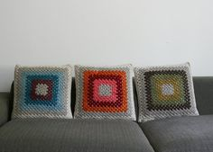 Items similar to Hand Crocheted Granny Square Cushion Cover. Wool, in Peacock. Items similar to Hand Crocheted Granny Square Cushion Cover. Wool, in Peacock. on Etsy Crochet Pouf, Crochet Cushions, Chunky Crochet, Crochet Pillow, Crochet Granny, Hand Crochet, Crochet Blankets, Granny Square Projects, Granny Square Bag