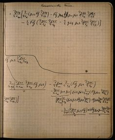 Albert Einstein's notebook [I have some other pictures of his notes on this board. I've never looked at math and/or numbers and thought them to be on pulchritudinous par with letters and words until now. Einstein is still so fucking important guys like ughhhh I wish I could talk to him for just 5-10 mins...]