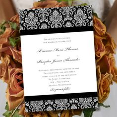 """Printable Wedding Invitation Template """"Damask"""" Black & White   Editable Word.doc   Instant Download   ALL COLORS Available   DIY You Print"""