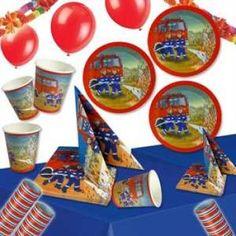 RZOnlinehandel - Partyset Feuerwehr für bis zu 6 Kinder - 48-teilig Party Set, Coasters, Fire Department, Birth, Coaster