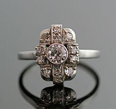 Antique Art Deco Diamond Ring - White Gold and Diamonds. $2,250.00, via Etsy.