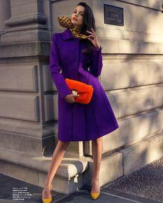 Purple Alberta Ferretti coat, Manolos, Fendi bag
