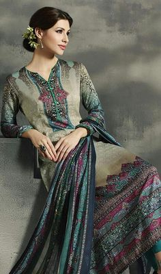 Radiate with beauty in your next family gatherings dolled up in pant style suit, cotton and satin fabric in multicolor shade. This pretty dress is adore with digital print work. #multicolorsuit #anklelengthdress #trendydressdesign