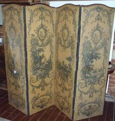 Antique Louis XV French Room Divider Screen Chic Roses hand painted